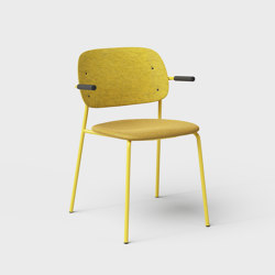 Hale PET Felt Stack Chair With Armrests Upholstered | Chairs | De Vorm