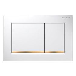 Actuator plates   Omega30 white, gold-plated   Flushes   Geberit