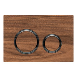 Actuator plates | Sigma21 black walnut, black chrome | Flushes | Geberit