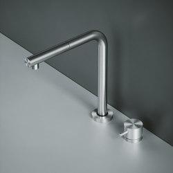 Mezclador de fregadero de cocina de acero inoxidable AISI316L con mezclador remoto y ducha de mano giratoria, extraíble y debajo de la ventana. | Griferías de cocina | Quadrodesign