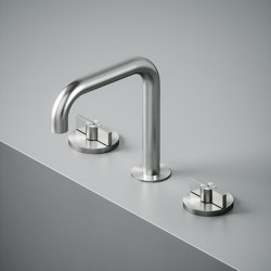 Valvola01 | Three-hole mixer with swivelling spout | Bath taps | Quadrodesign