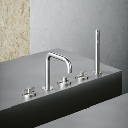 Valvola01 | Three hole tap with swivelling spout and hydroprogressive mixer with handshower kit | Bath taps | Quadrodesign