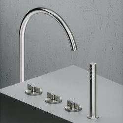 Valvola01 | Two hole tap and hydroprogressive mixer with handshower kit | Bath taps | Quadrodesign