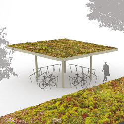 pin green | Shelter with vegetative roof | Bus stop shelters | mmcité