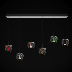 Apple mood small suspension canopy 6 set, chrome | Suspended lights | Quasar