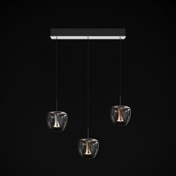 Apple mood small suspension canopy 3 set, chrome | Suspended lights | Quasar