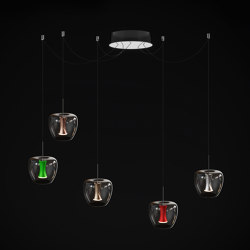 Apple mood small suspension canopy round 5 free set, chrome | Suspended lights | Quasar