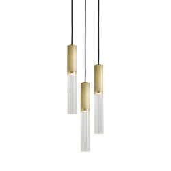 Flume | 50 Pendant - 3 Drop Grouping - Antique Brass | Suspended lights | J. Adams & Co