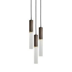 Flume | 50 Pendant - 3 Drop Grouping - Bronze | Suspended lights | J. Adams & Co