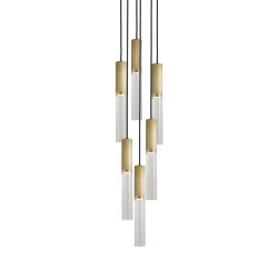 Flume | 50 Pendant - 6 Drop Grouping - Antique Brass | Lámparas de suspensión | J. Adams & Co