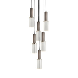 Flume | 80 Pendant - 6 Drop Grouping - Bronze | Suspended lights | J. Adams & Co