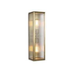 Lantern | Ash Wall Light - Large Twin Lamp - Antique Brass & Clear Reeded Glass | Wall lights | J. Adams & Co