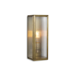 Lantern | Ash Wall Light - Medium - Antique Brass & Clear Reeded Glass | Appliques murales | J. Adams & Co