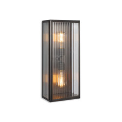 Lantern | Birch Wall Light - Large Twin Lamp - Bronze & Clear Reeded Glass | Wall lights | J. Adams & Co