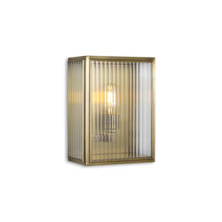 Lantern | Birch Wall Light - Small - Antique Brass & Clear Reeded Glass | Appliques murales | J. Adams & Co