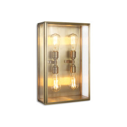 Lantern | Cedar Wall Light - Large Quad Lamp - Antique Brass & Clear Glass | Wall lights | J. Adams & Co