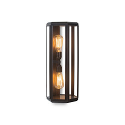 Lantern | Oak Hexagonal Wall Light - Bronze & Clear Glass | Wall lights | J. Adams & Co