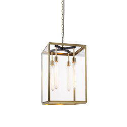 Lantern | Hazel Pendant Indoor - Large - Antique Brass & Clear Glass | Suspended lights | J. Adams & Co