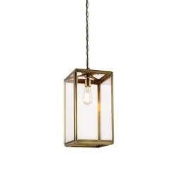 Lantern | Hazel Pendant Indoor - Small - Antique Brass & Clear Glass | Suspended lights | J. Adams & Co