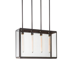 Lantern | Lilac Pendant 4 - Tall - Bronze & Clear Glass | Suspended lights | J. Adams & Co