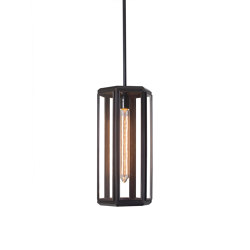 Lantern | Oak Hexagonal Pendant - Bronze & Clear Glass | Suspended lights | J. Adams & Co