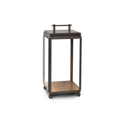 Lantern | Hazel Floor Light - Small, Battery powered - Bronze & Clear Glass | Lampade pavimento | J. Adams & Co