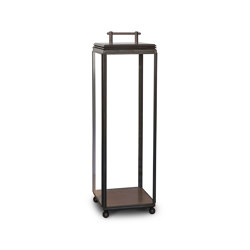 Lantern | Hazel Floor Light - Tall, Battery powered - Bronze & Clear Glass | Luminaires de sol | J. Adams & Co