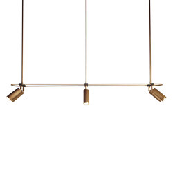 Spot | Pendant - 6 spots - 1400mm - Antique Brass | Suspended lights | J. Adams & Co