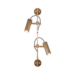 Spot | Wall Rail - Double Head - Antqiue Brass | Wall lights | J. Adams & Co