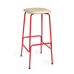 Tabouret de bar Equo (frêne naturel, rouge) | Tabourets de bar | Caussa