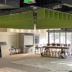 Straight freestyle baffles | Sound absorbing ceiling systems | Soundtect
