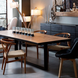 mary's design mood | Ioannis Dining Table - teak top/iron base | Dining tables | MARY&