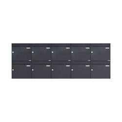 Basic | 10er 2x5 Aufputz Briefkasten Design BASIC 382A AP - RAL 7016 anthrazitgrau 100mm Tiefe | Mailboxes | Briefkasten Manufaktur