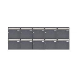 Basic | 10er 2x5 Aufputz Briefkastenanlage Design BASIC 382 AP - Edelstahl-RAL 7016 anthrazitgrau 100mm Tiefe | Mailboxes | Briefkasten Manufaktur