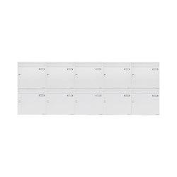 Basic | 10er 2x5 Aufputz Briefkastenanlage Design BASIC 382A AP - RAL 9016 verkehrsweiß 100mm Tiefe | Mailboxes | Briefkasten Manufaktur