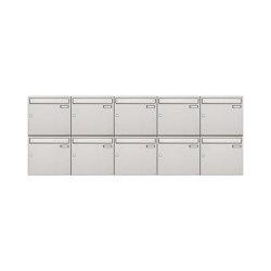 Basic | 10er 2x5 Edelstahl Aufputz Briefkastenanlage Design BASIC 382A-AP Edelstahl V2A, geschliffen 100mm Tiefe | Mailboxes | Briefkasten Manufaktur