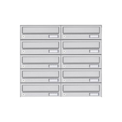 Basic | 10er 5x2 Aufputz Briefkastenanlage Design BASIC 385A AP - Edelstahl V2A, geschliffen | Mailboxes | Briefkasten Manufaktur