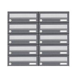 Basic | 10er 5x2 Aufputz Briefkastenanlage Design BASIC 385A AP - Edelstahl-RAL 7016 anthrazit | Mailboxes | Briefkasten Manufaktur