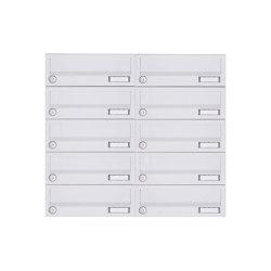 Basic | 10er 5x2 Aufputz Briefkastenanlage Design BASIC 385A-9016 AP - RAL 9016 verkehrsweiß | Mailboxes | Briefkasten Manufaktur