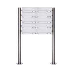 Basic | 10er 5x2 Briefkastenanlage freistehend Design BASIC 385-9016 ST-R - RAL 9016 verkehrsweiß | Mailboxes | Briefkasten Manufaktur