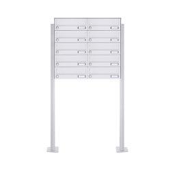 Basic | 10er 5x2 Standbriefkasten Design BASIC 385P-9016 ST-T - RAL 9016 verkehrsweiß | Mailboxes | Briefkasten Manufaktur