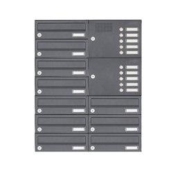 Basic | 10er Aufputz Briefkastenanlage Design BASIC 385A-7016 AP mit Klingelkasten - RAL 7016 anthrazitgrau Rechts | Mailboxes | Briefkasten Manufaktur