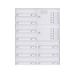 Basic | 10er Aufputz Briefkastenanlage Design BASIC 385A-9016 AP mit Klingelkasten - RAL 9016 verkehrsweiß Rechts | Mailboxes | Briefkasten Manufaktur