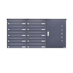 Basic | 10er Aufputz Paketbriefkasten BASIC 863 AP mit Paketfach 550x370 in RAL 7016 anthrazitgrau Rechts | Mailboxes | Briefkasten Manufaktur