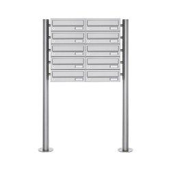 Basic | 10er Briefkastenanlage freistehend Design BASIC 385 ST-R - Edelstahl V2A, geschliffen | Mailboxes | Briefkasten Manufaktur