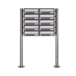 Basic | 10er Briefkastenanlage freistehend Design BASIC 385 ST-R - Edelstahl-RAL 7016 anthrazitgrau | Mailboxes | Briefkasten Manufaktur