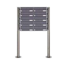 Basic | 10er Briefkastenanlage freistehend Design BASIC 385 ST-R - RAL 7016 anthrazitgrau | Mailboxes | Briefkasten Manufaktur