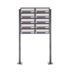 Basic | 10er Briefkastenanlage freistehend Design BASIC 385P ST-T - Edelstahl-RAL 7016 anthrazitgrau | Mailboxes | Briefkasten Manufaktur
