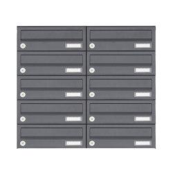 Basic | 10er Edelstahl Aufputz Briefkastenanlage Design BASIC Plus 385XA AP - RAL nach Wahl | Mailboxes | Briefkasten Manufaktur