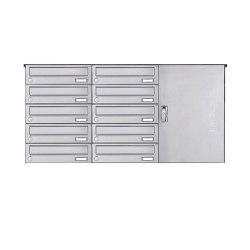 Basic | 10er Edelstahl Aufputz Paketbriefkasten BASIC 863 AP mit Paketfach 550x370 Rechts | Mailboxes | Briefkasten Manufaktur